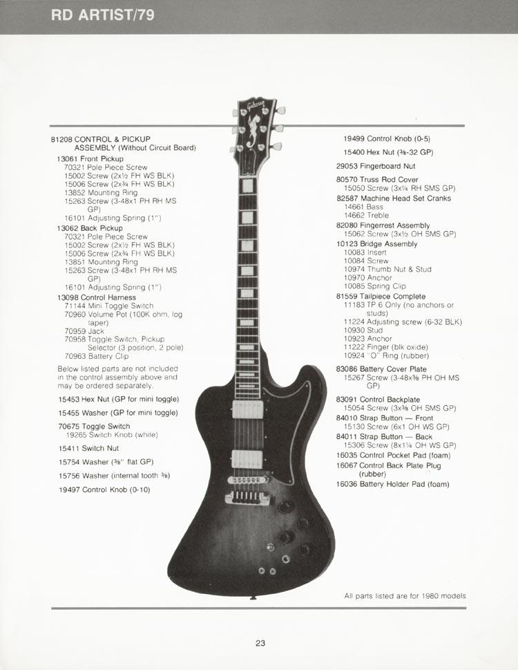 Gibson RD Artist (RD79) parts list