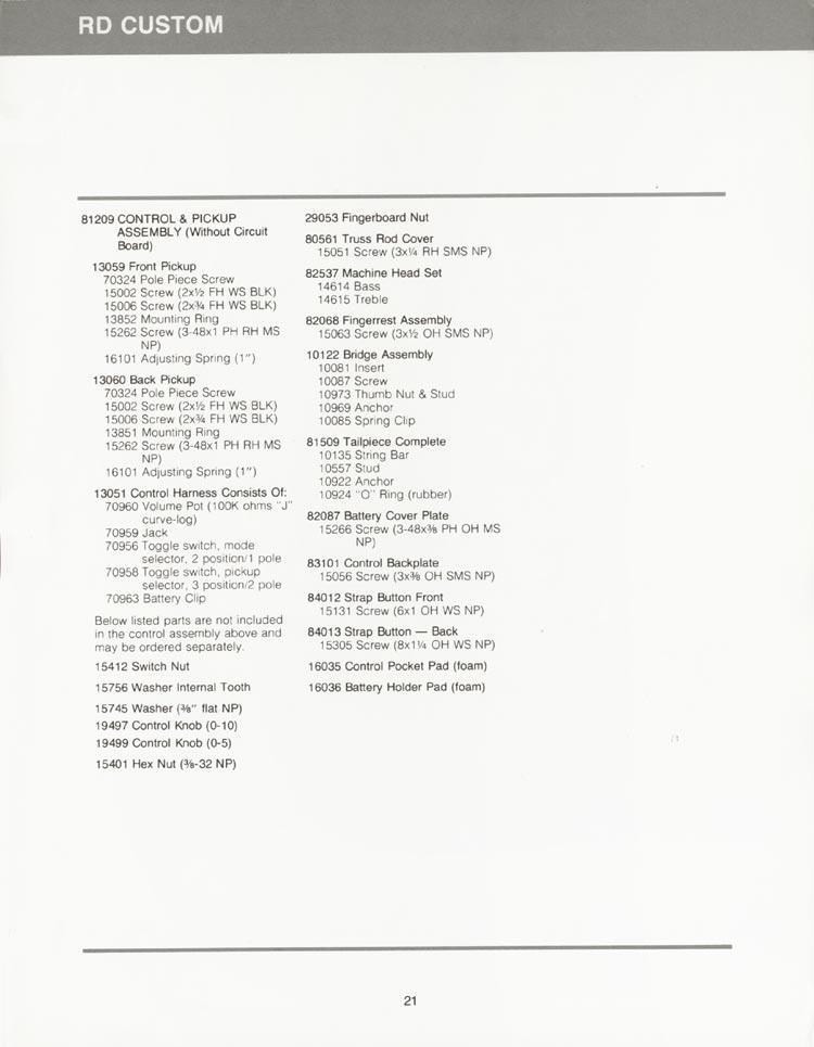 Gibson RD Custom parts list