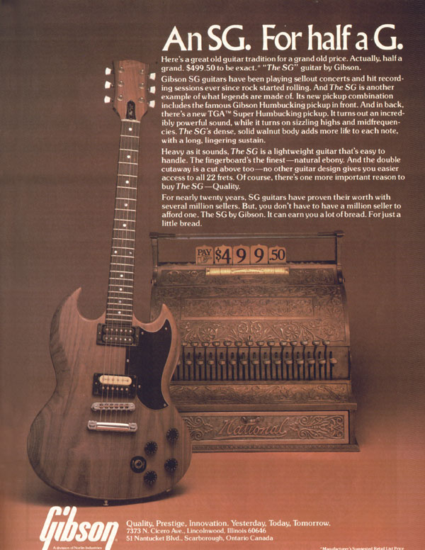 Gibson advertisement (1979) An SG. For Half A G