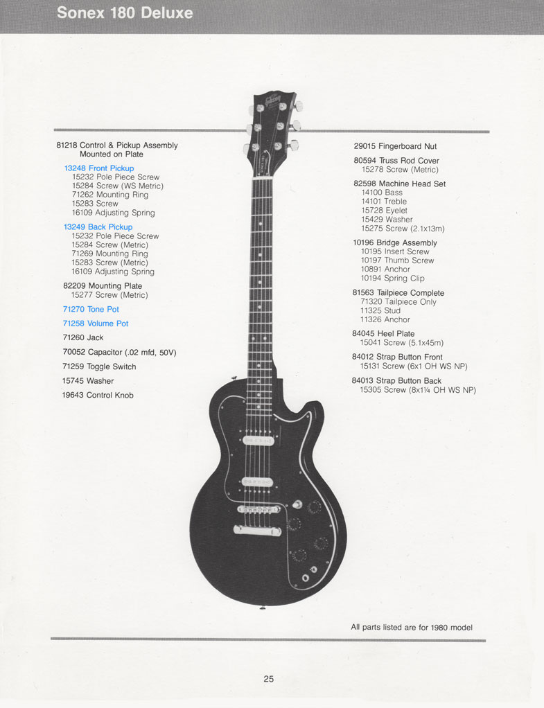 gibson sonex 180 deluxe electric guitar parts list. Black Bedroom Furniture Sets. Home Design Ideas