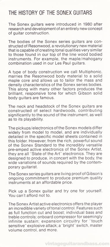 1981 Gibson Sonex owners manual page 2