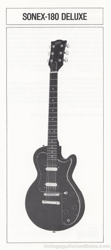 1981 Gibson Sonex pre-owners manual insert 1 - Sonex-180 Deluxe image