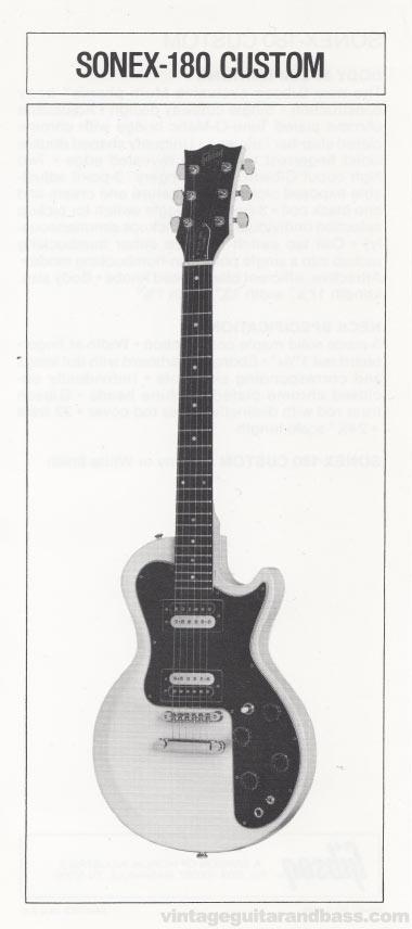 1981 Gibson Sonex pre-owners manual insert 2 - Sonex-180 Custom image