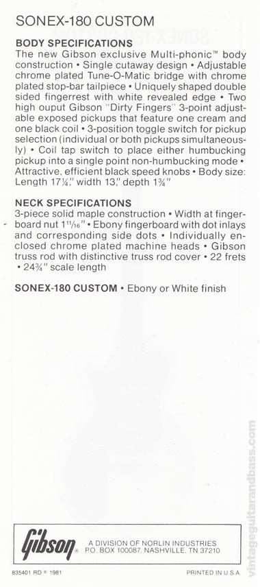 1981 Gibson Sonex pre-owners manual insert 2 - Sonex-180 Custom text