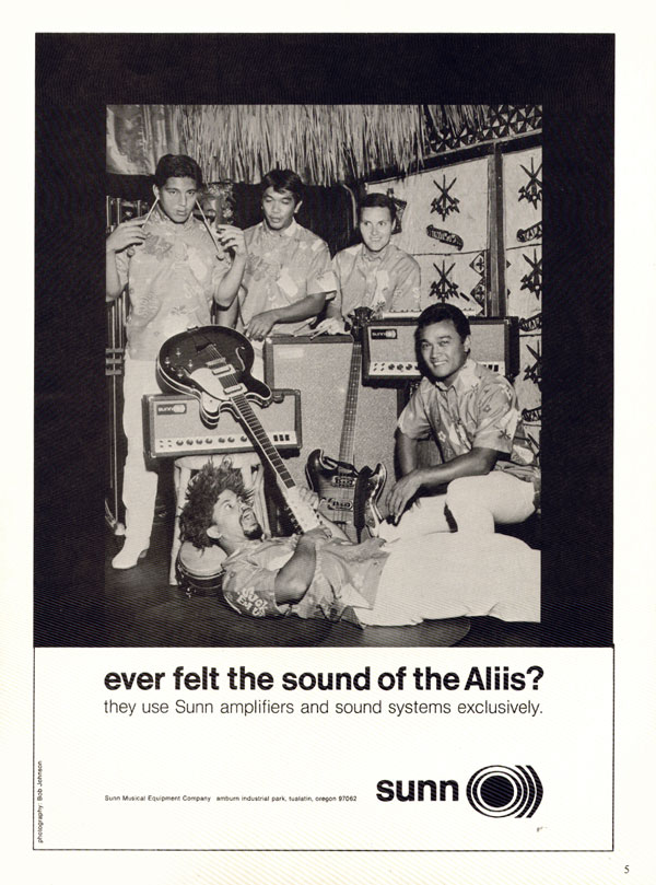 Sunn advertisement (1968) Ever felt the sound of the Aliis
