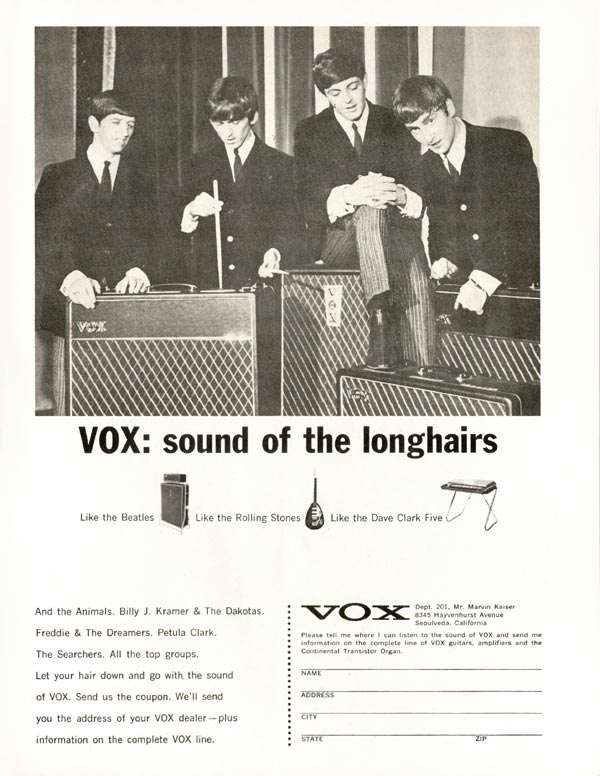 Vox advertisement (1965) VOX: Sound of the Longhairs (Beatles)