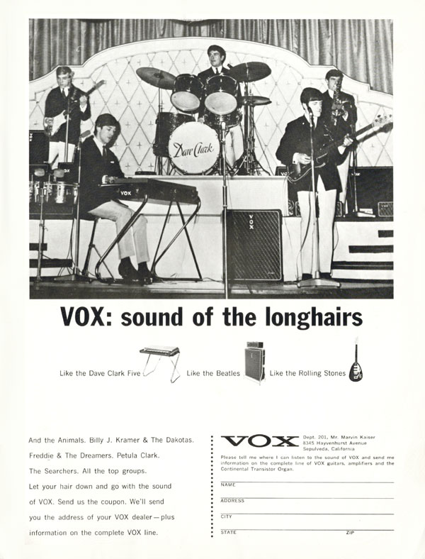 Vox advertisement (1965) VOX: Sound of the Longhairs (Dave Clark 5)