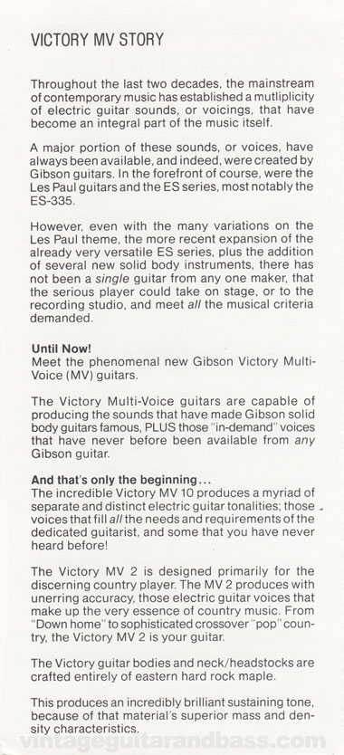 1981 Gibson Victory MV guitar owners manual page 2