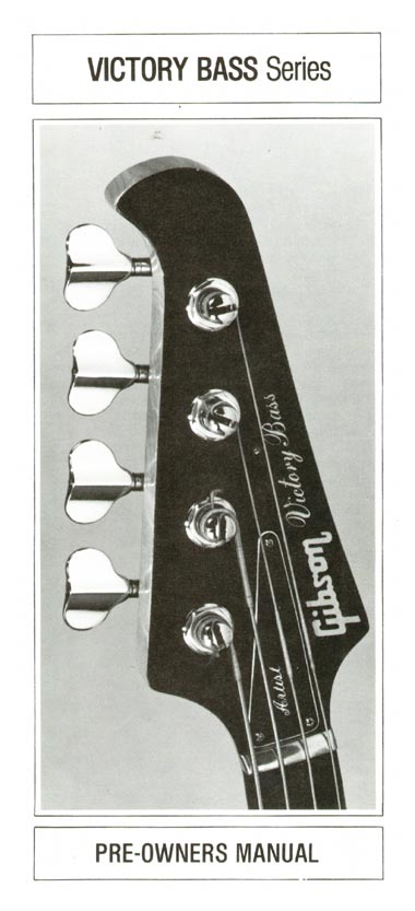 1981 Gibson Victory bass pre-owners manual page front cover