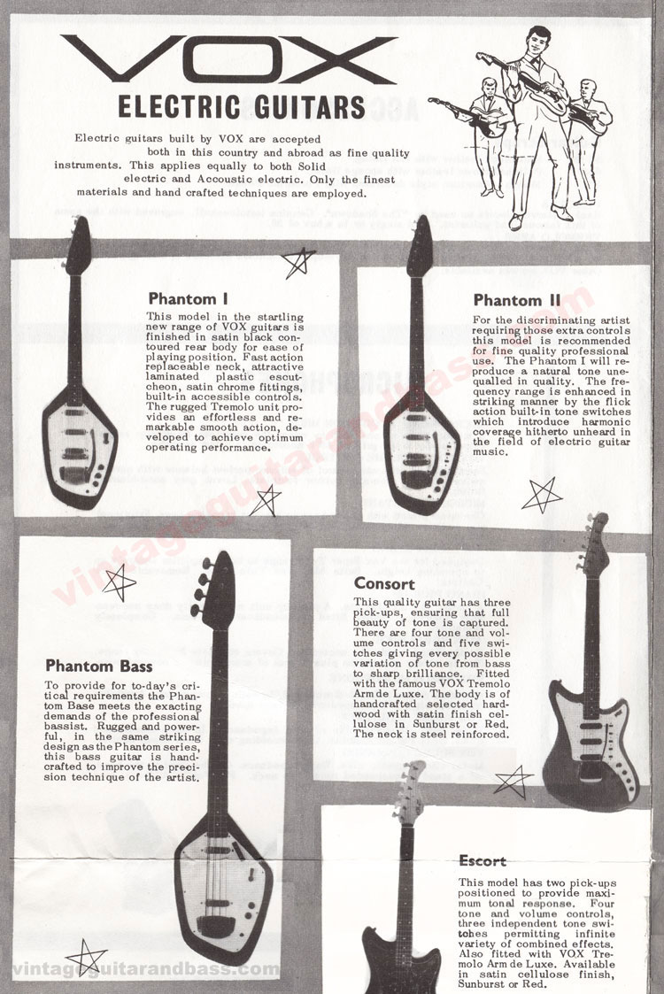 1962 Vox Choice of the Stars catalogue page 2, Vox Phantom I, Phantom II, Phantom bass and Consort