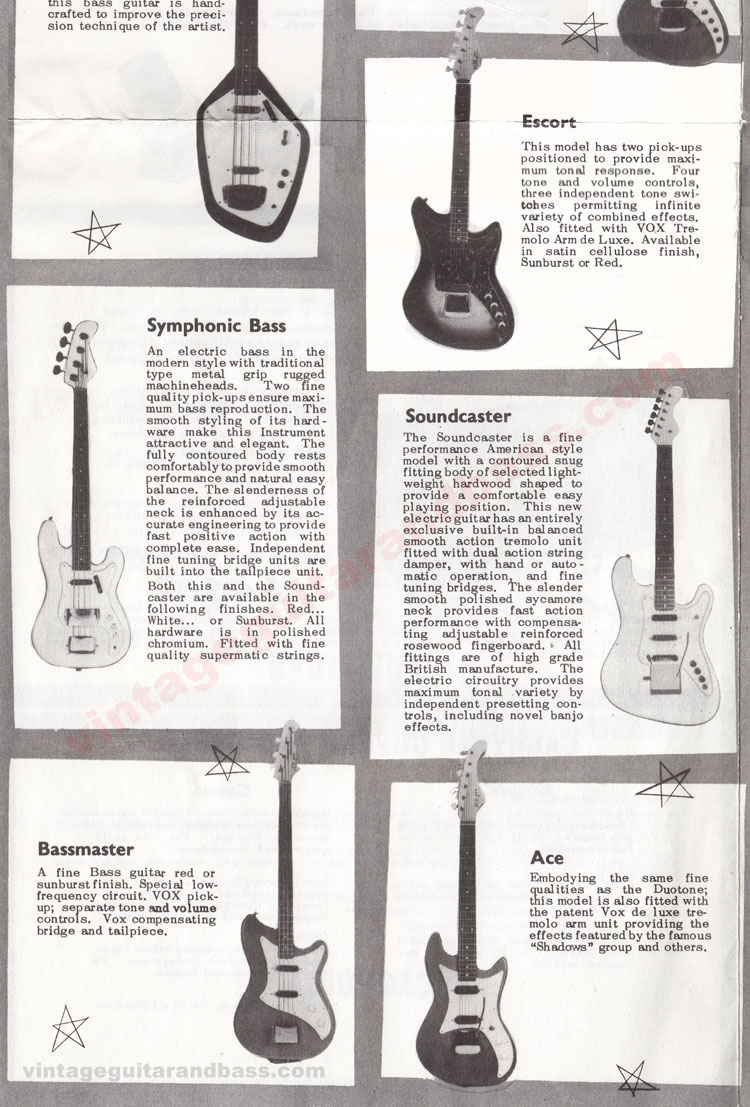 1962 Vox Choice of the Stars catalogue page 4 - Vox Symphonic bass, Bassmaster, Escort, Soundcaster and Ace guitars