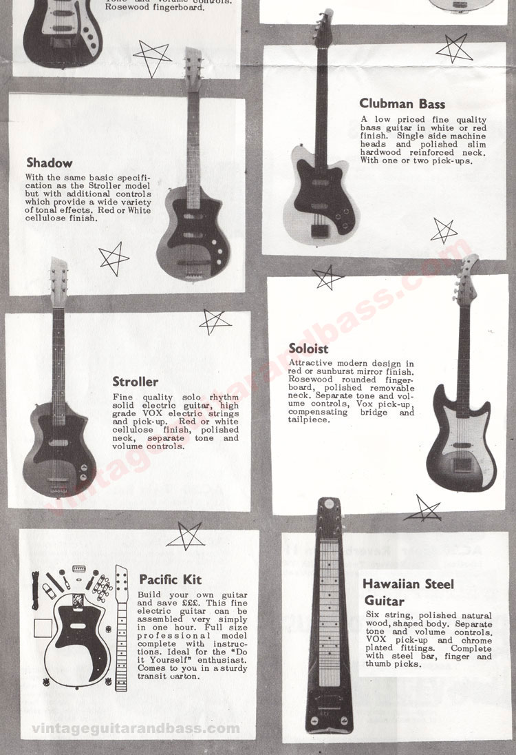 1962 Vox Choice of the Stars catalogue page 5 - Vox Shadow, Stroller, Soloist, Clubman Bass, Pacific and Hawaiian Steel guitars