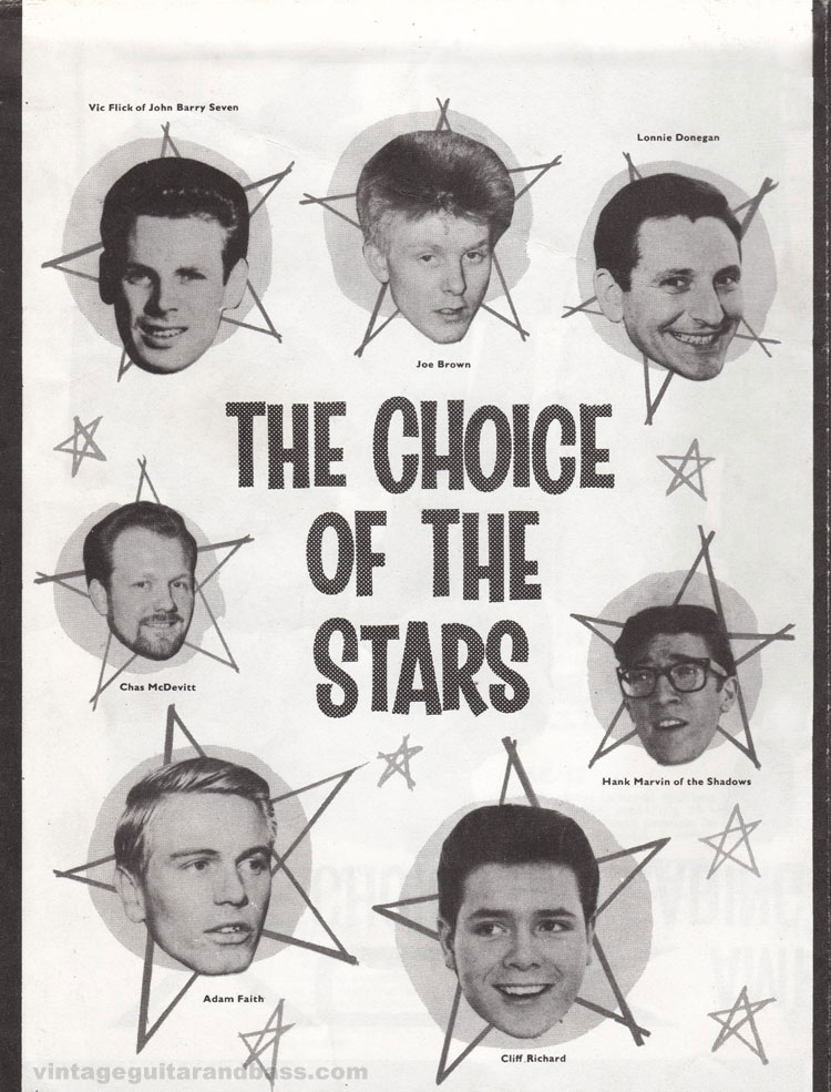 1962 Vox Choice of the Stars catalogue page 6: Vic Flick, Joe Brown, Lonnie Donegan, Chas McDevitt, Adam Faith, Cliff Richard and Hank Marvin
