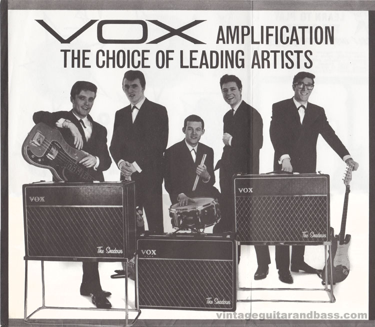 1962 Vox Choice of the Stars catalogue page 7 - the Shadows / Vox amplification