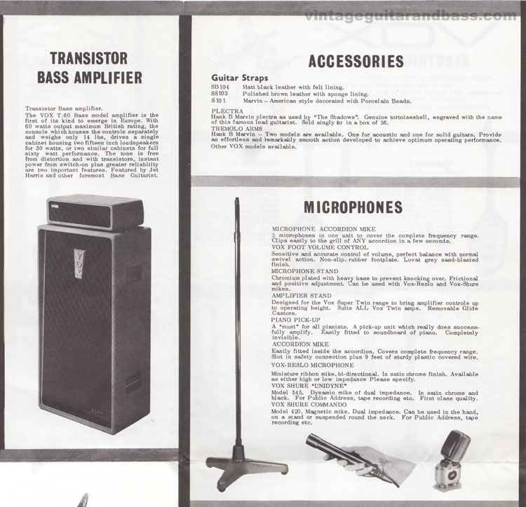 1962 Vox Choice of the Stars catalogue page 8 - T60 transistor amp