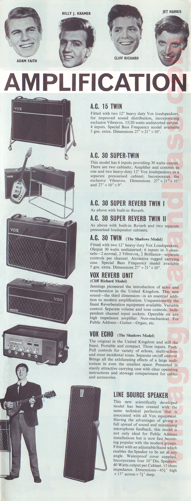 1962 Vox guitar catalog page 7 - The Shadows / Vox amplification