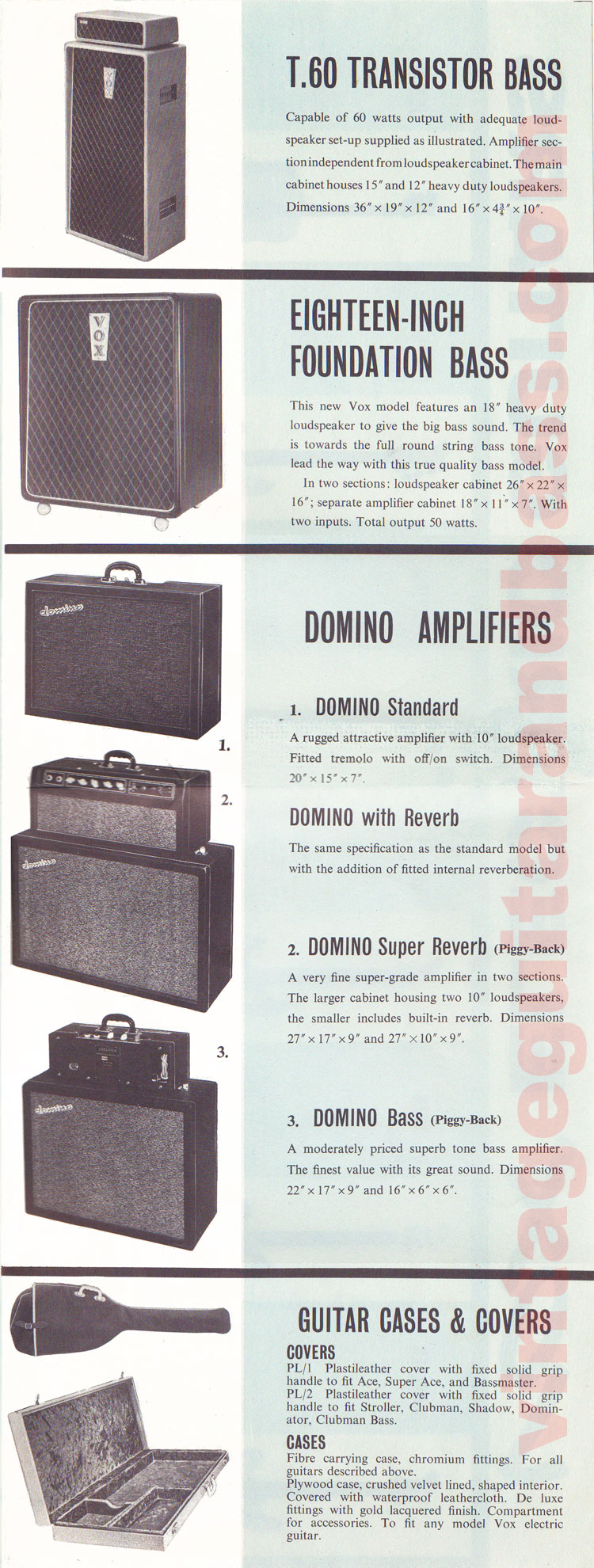 1962 Vox guitar catalog page 8 - details of the T60 transistor amp