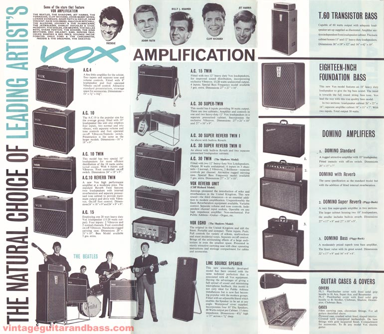 "1963 Vox ""Choice of the Stars\"" brochure - side 2"