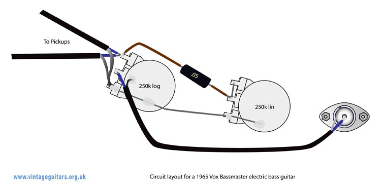VoxBassmasterSchematicCoAx 1965 vox bassmaster circuit diagram one pickup wiring diagram at crackthecode.co
