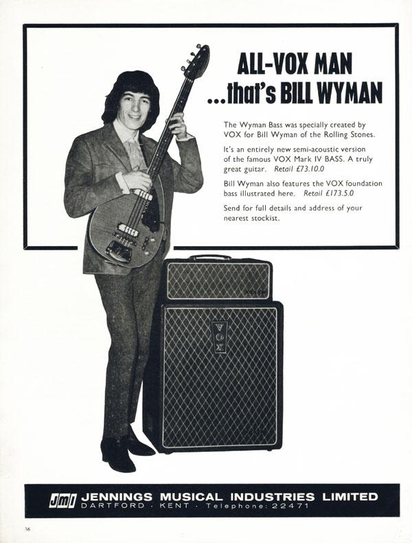 Vox advertisement (1965) ALL-VOX MAN... thats BILL WYMAN