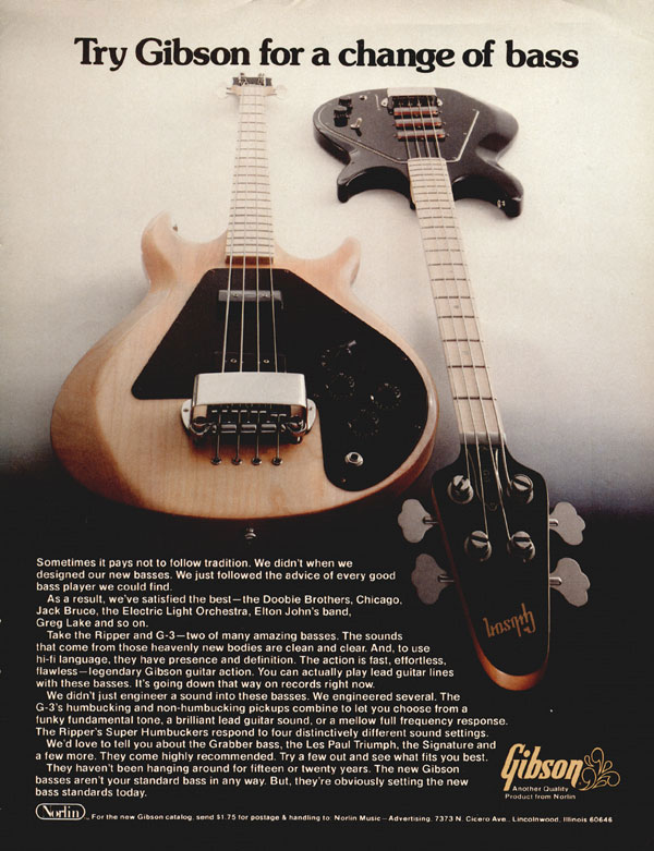 Gibson advertisement (1977) Try Gibson for a change of bass