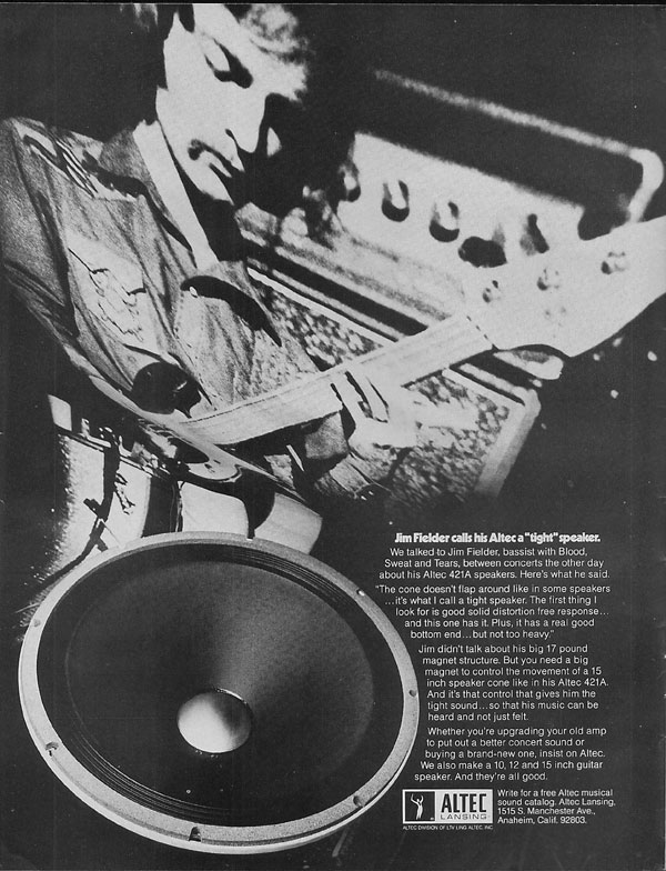 Altec advertisement (1971) Jim Fielder Calls His Altec a