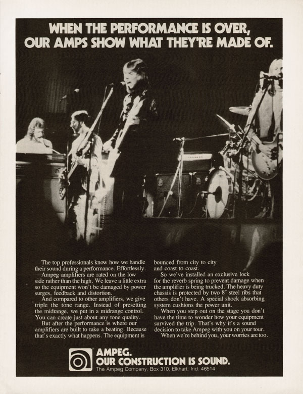 Ampeg advertisement (1975) When The Performance is Over, Our Amps Show What They