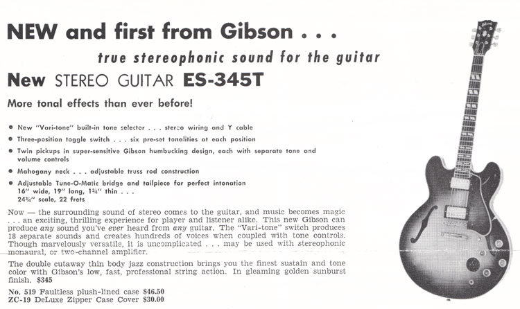 Announcement of the Gibson ES-345T electric guitar from 1959
