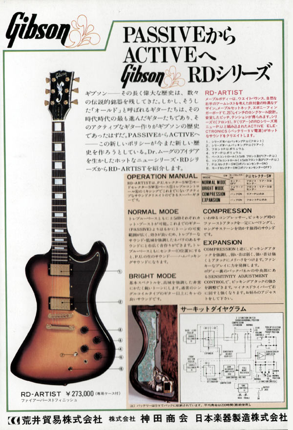 Gibson advertisement (1978) Passive Active Gibson RD