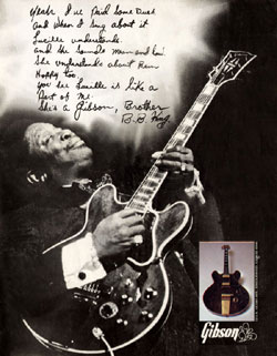 BB King plays an ES-355TD-SV in a 1973 Gibson advert