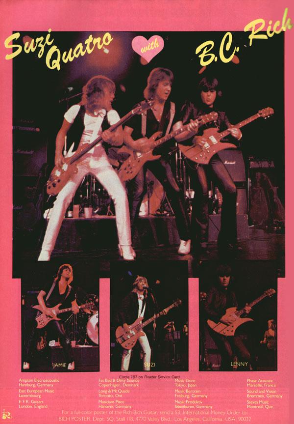 BC Rich advertisement (1979) Suzi Quatro With BC Rich