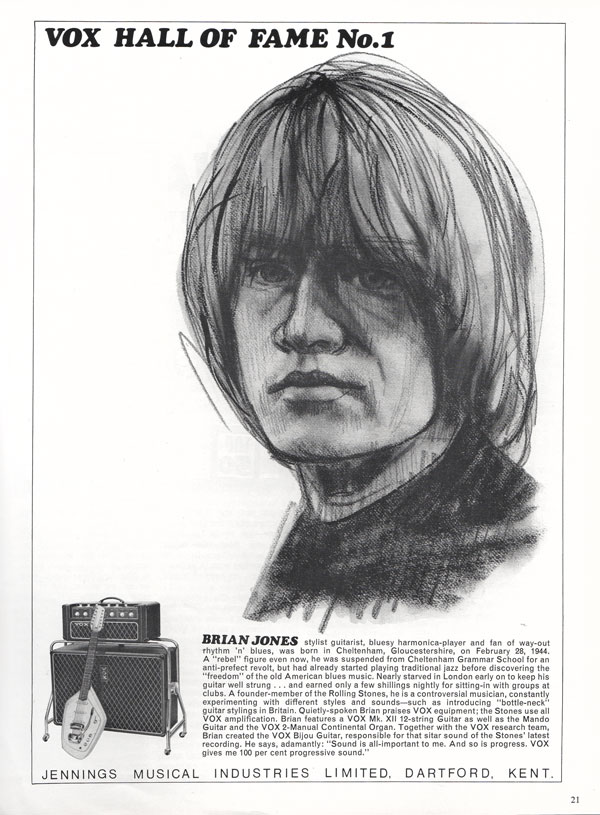 Vox advertisement (1966) Vox Hall of Fame: No 1 Brian Jones