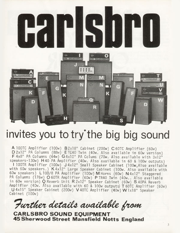 Carlsbro advertisement (1970) Carlsbro Invites You To Try The Big Big Sound