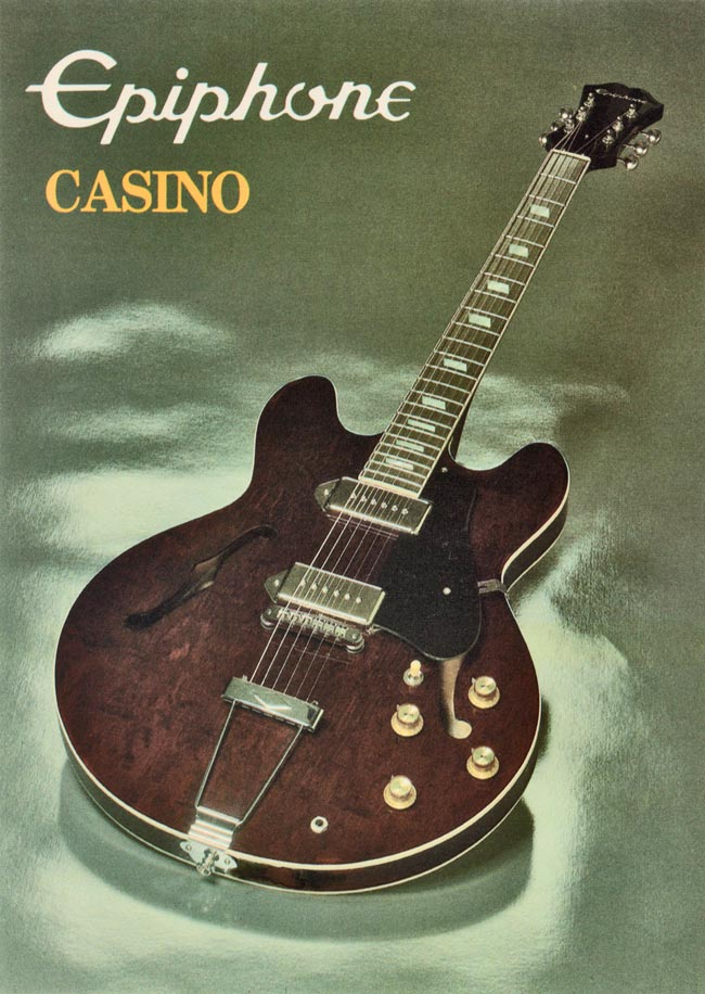 1982 Epiphone Casino promotional card - side 1