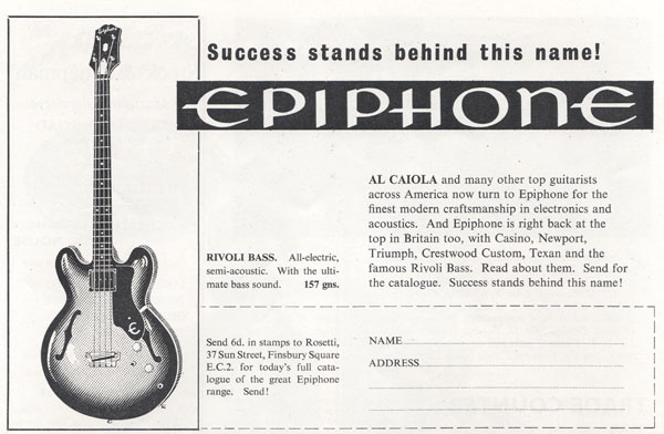 Epiphone advertisement (1963) Success Stands Behind This Name - Epiphone