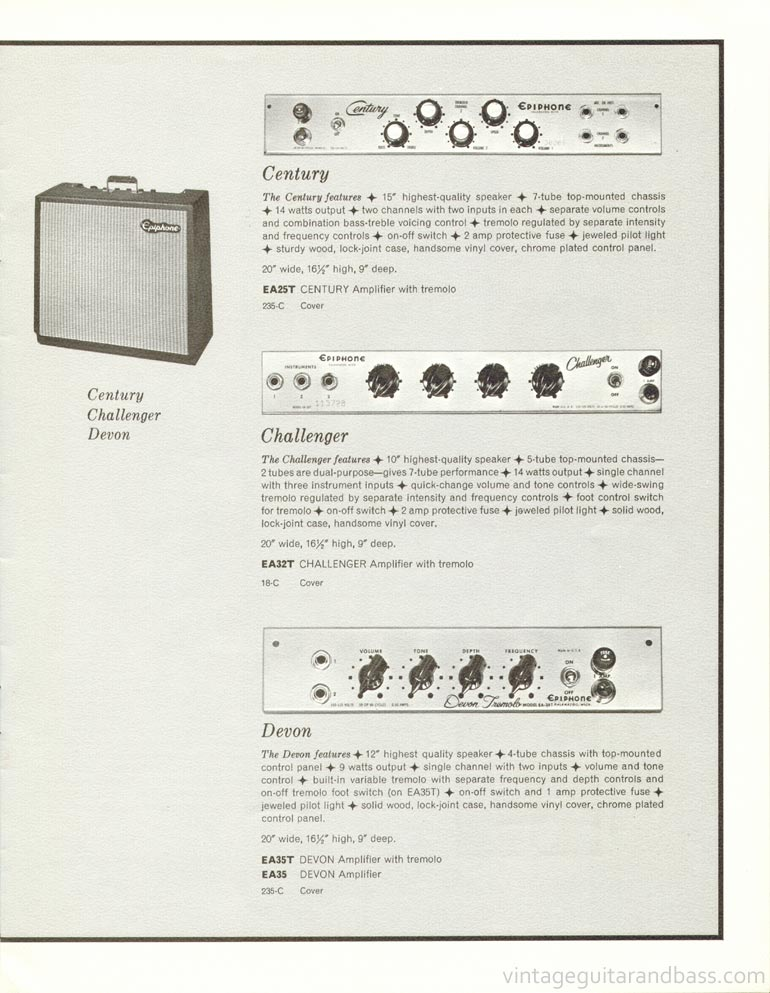 1961 Epiphone full line catalogue page 11 - Century, Challenger and Devon amplifiers