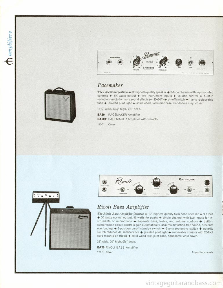 1961 Epiphone full line catalogue - Epiphone Pacemaker and Rivoli Bass Amplifier