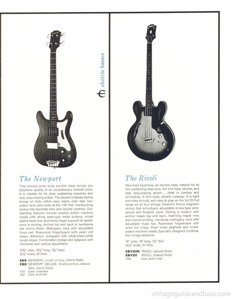 1961 Epiphone full line catalogue page 13 - Epiphone Newport and Rivoli basses
