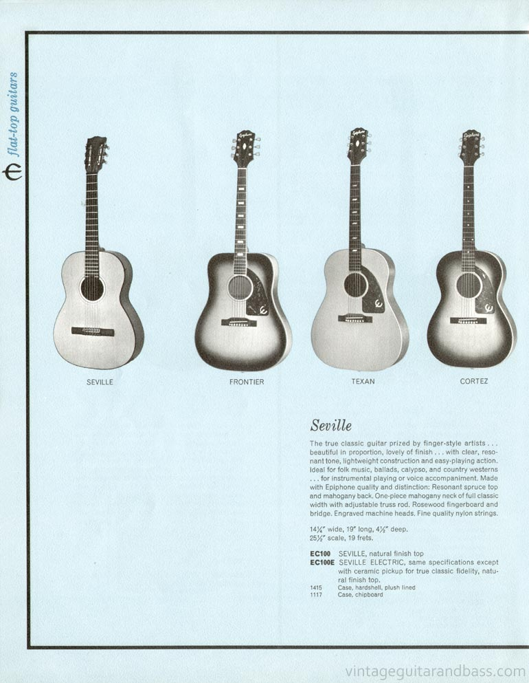 1961 Epiphone full line catalogue page 14 - Seville, Frontier, Texan and Cortez acoustic guitars