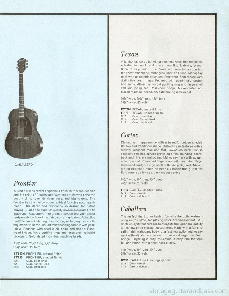 1961 Epiphone full line catalogue page 15- Epiphone Caballero acoustic guitar