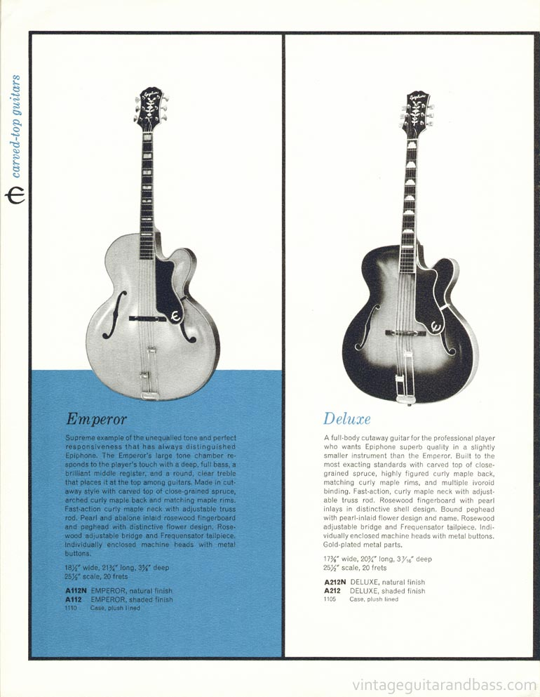 1961 Epiphone full line catalogue page 16- Epiphone Emperor and Deluxe carved top acoustic guitars