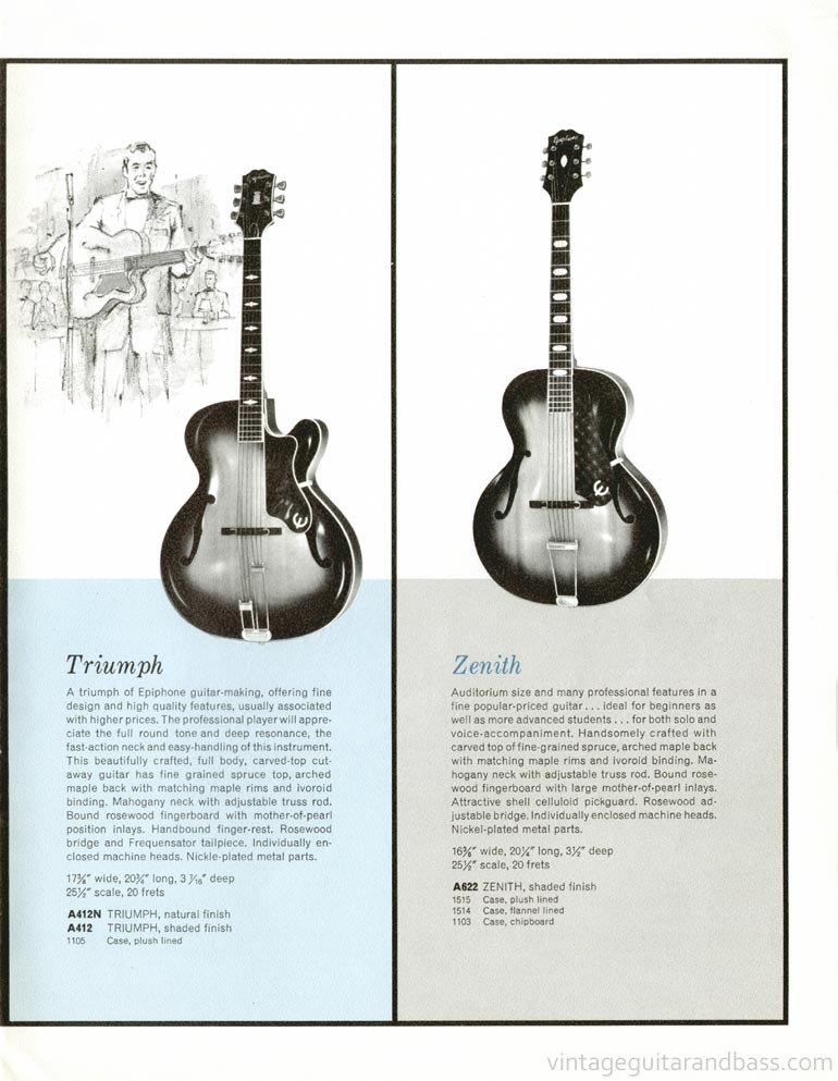 1961 Epiphone full line catalogue page 17 - Triumph and Zenith carved top acoustic guitars