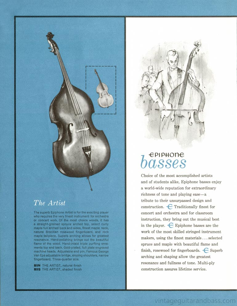 1961 Epiphone full line catalogue page 18 - Epiphone Artist upright acoustic bass