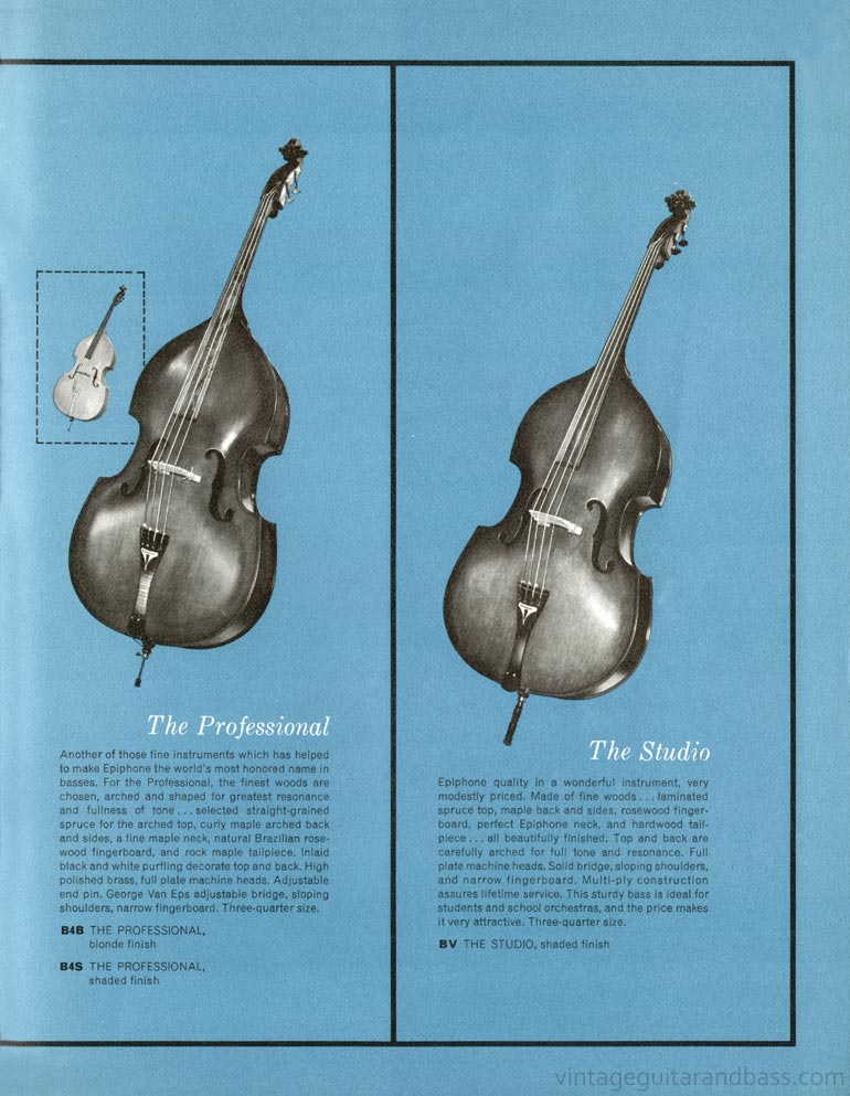 1961 Epiphone full line catalogue page 19 - Epiphone Professional and Studio upright acoustic basses