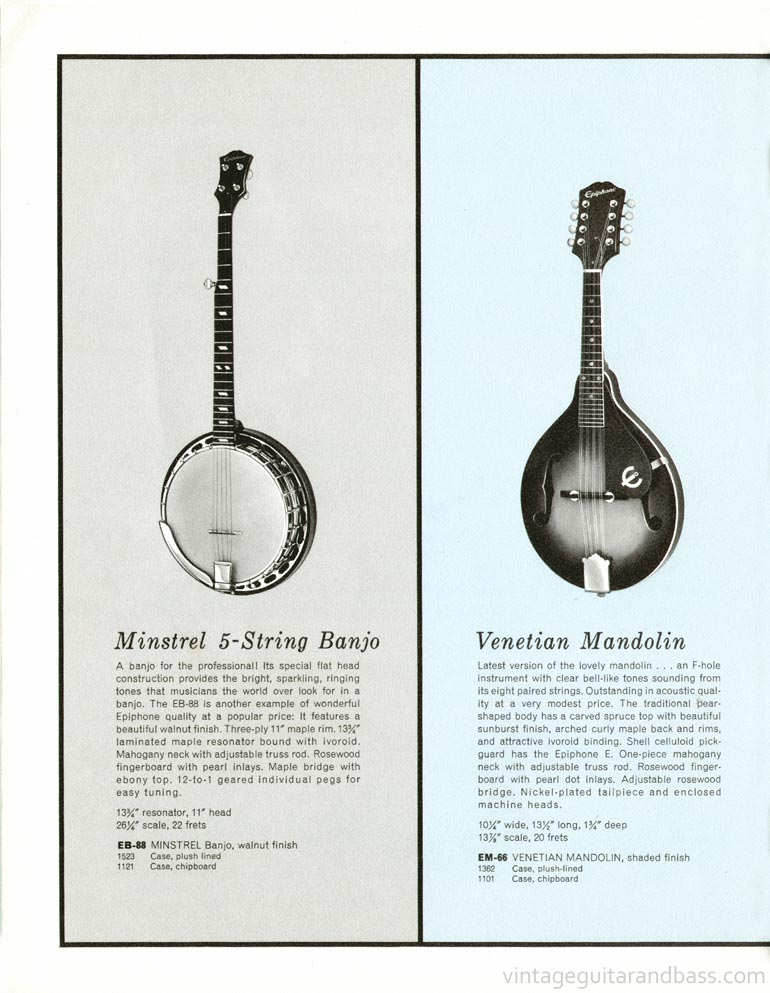 1961 Epiphone full line catalogue page 20 - Epiphone Minstrel banjo and Venetian mandolin