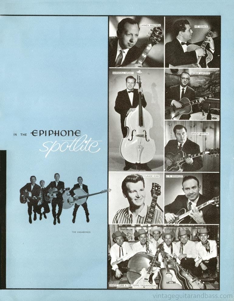 1961 Epiphone full line catalogue page 23 - Epiphone artists: Carmen Mastren, Ike Isaacs, Marshall Grant, George Van Eps, Grady Martin, Claude King, J.B. Brinkley, Ernest Tubb and the Texas Troubadours, the Vagabonds