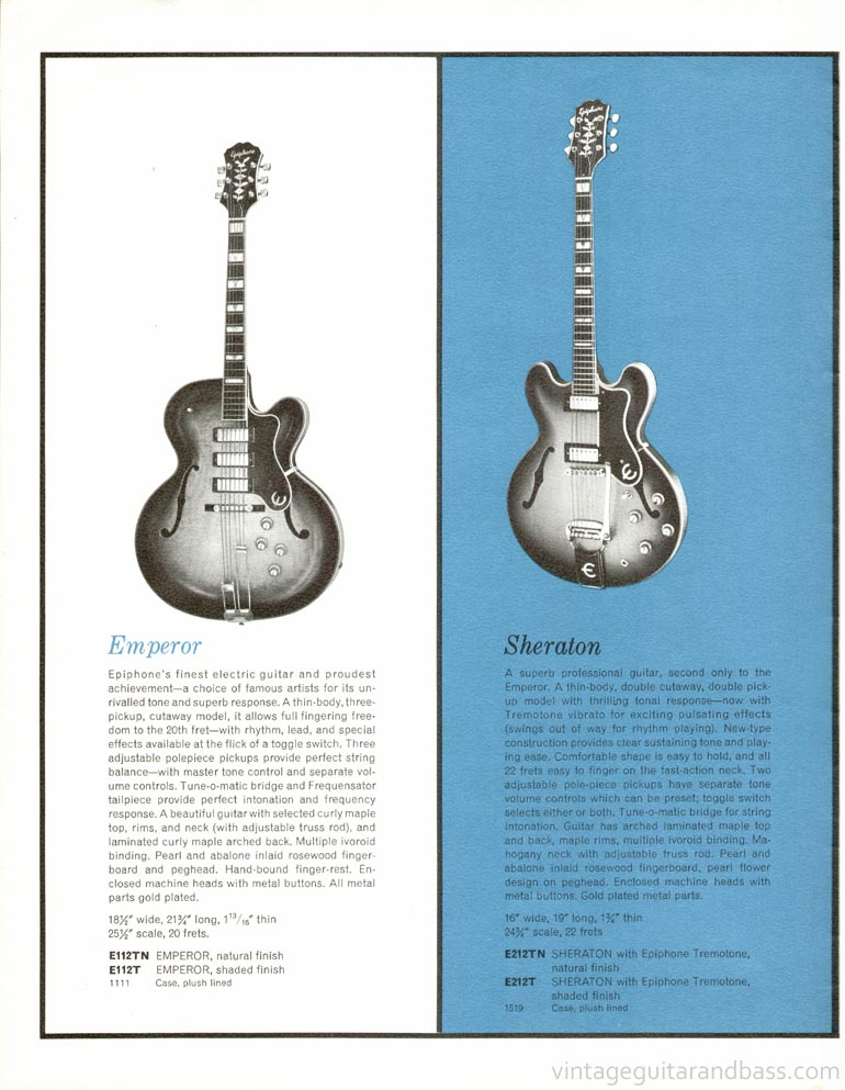 1961 Epiphone full line catalogue page 4 - Details of the Epiphone Emperor and Epiphone Sheraton