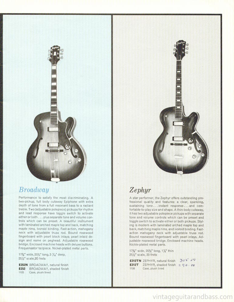 1961 Epiphone full line catalogue page 5 - Epiphone Broadway and Epiphone Zephyr