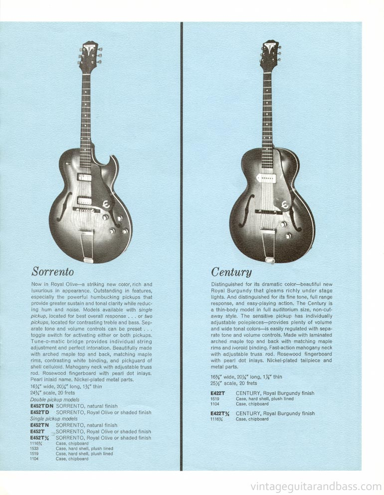 1961 Epiphone full line catalogue page 7 - Epiphone Century and Epiphone Sorrento