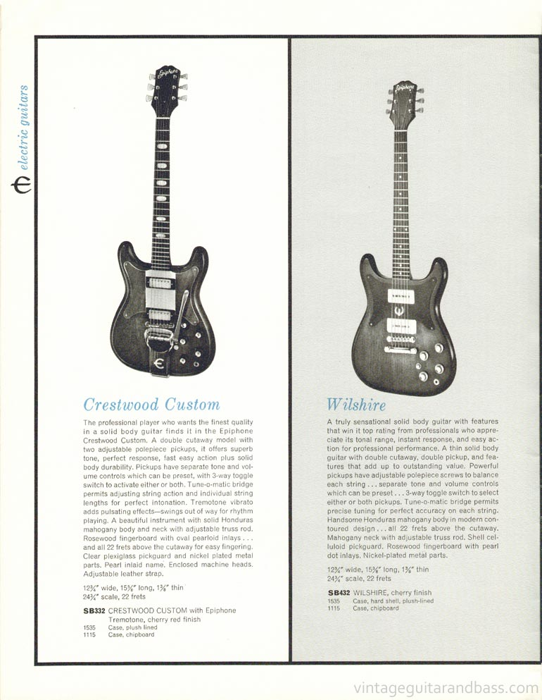 1961 Epiphone full line catalogue page 8 -  Epiphone Crestwood Custom and Wilshire